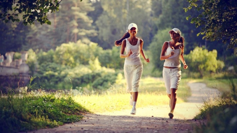 Two-Girls-in-White-Outfit-Jogging
