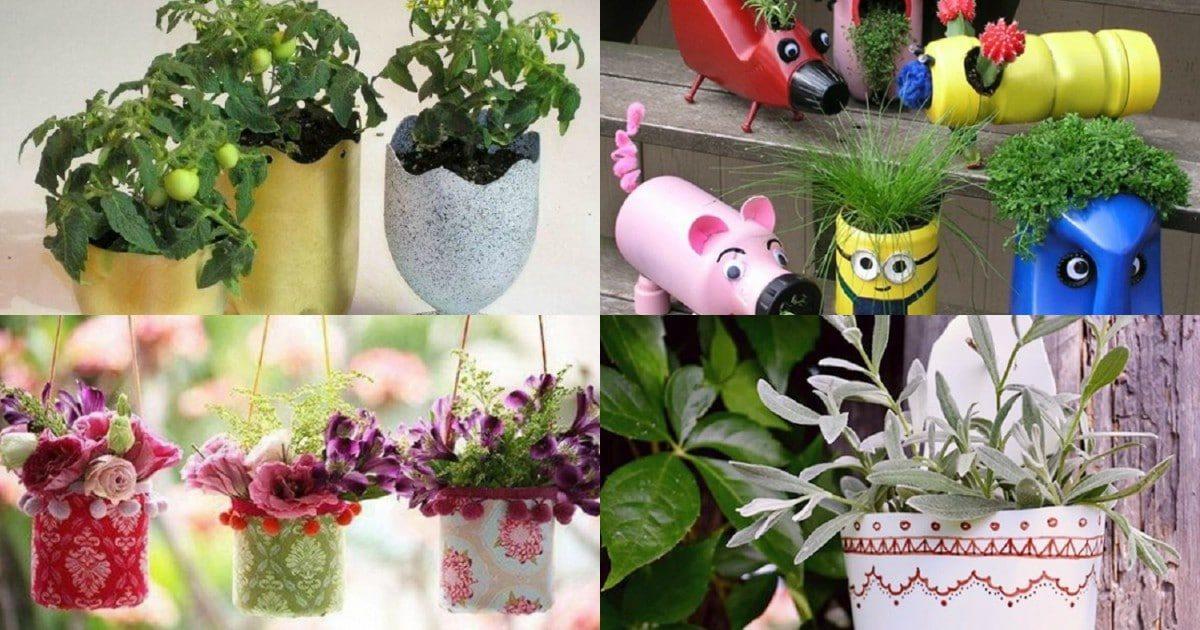 Идеи для цветочных горшков из пластиковых бутылок