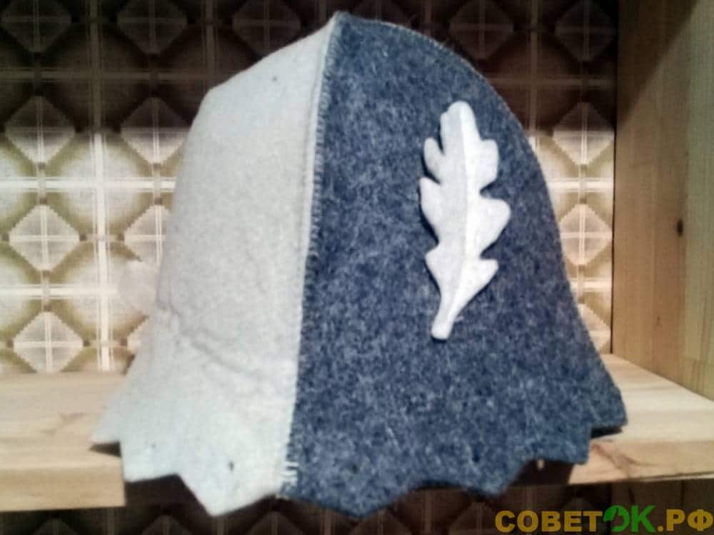 Мужская шапка для бани с дубовым листом