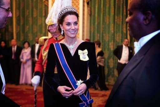 Kate Middleton dazzles in Alexander McQueen gown — and Princess Diana's historic diamond and pearl tiara
